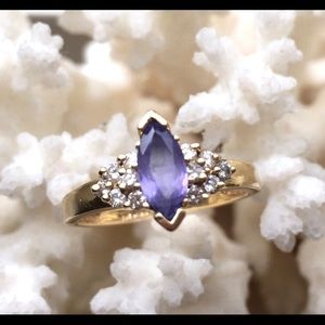 14K gold ring with amethyst & diamonds